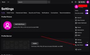 Dark Mode in Twitch TV